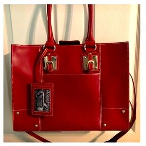 WILSON RED LEATHER LAPTOP BAG.